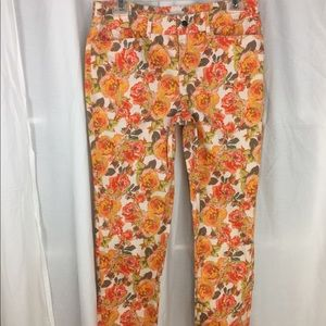 Madison floral Sateen stretch cropped pants 4